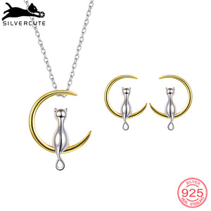 Gold Color Moon Cat Necklace Earrings  Sterling Silver