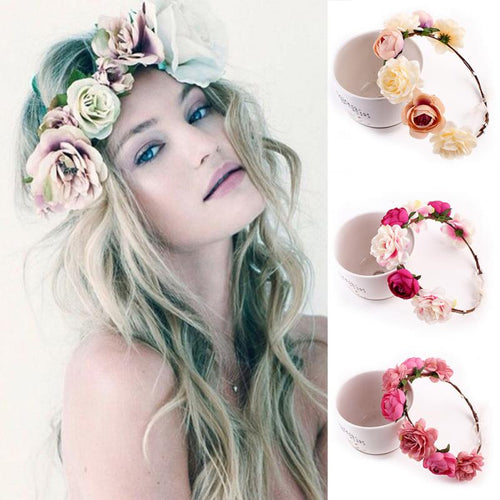 Bohemia Handmade Floral Headband Women Flower Crown Wedding Garland