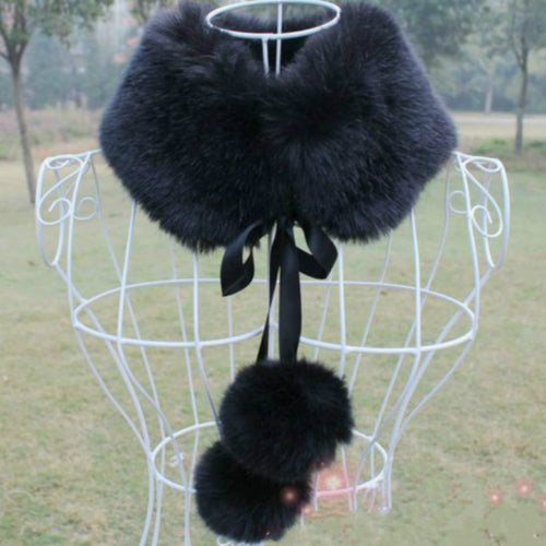 Faux fox fur scarfs wraps with ribbons and fur balls