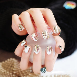 Metal Plating False French Acrylic Nail Tips Metallic  Without Nail Glue