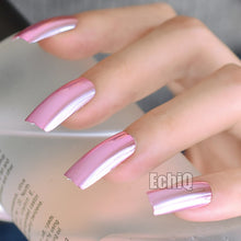 Load image into Gallery viewer, Metal Plating False French Acrylic Nail Tips Metallic  Without Nail Glue