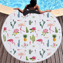 Load image into Gallery viewer, Flamingo  Round Beach Towel  Microfiber 150cm