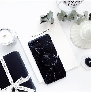 Marble Painted Case For iPhone 6 6S 8 7 Plus X  Stand Holder Silicone Soft Phone Case For iPhone 7 plus Cover
