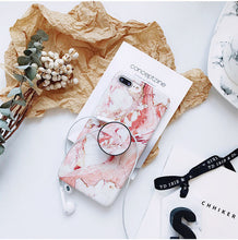 Load image into Gallery viewer, Marble Painted Case For iPhone 6 6S 8 7 Plus X  Stand Holder Silicone Soft Phone Case For iPhone 7 plus Cover