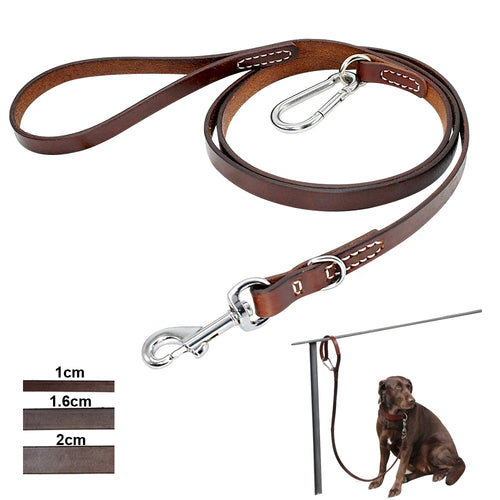 Leather Dog Leash Durable with Mountaineering Buckle