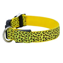 Load image into Gallery viewer, LED Dog Collar Flashing In Dark 3 Mode Lighting Safety Adjustable Nylon Leopard Pet Collar