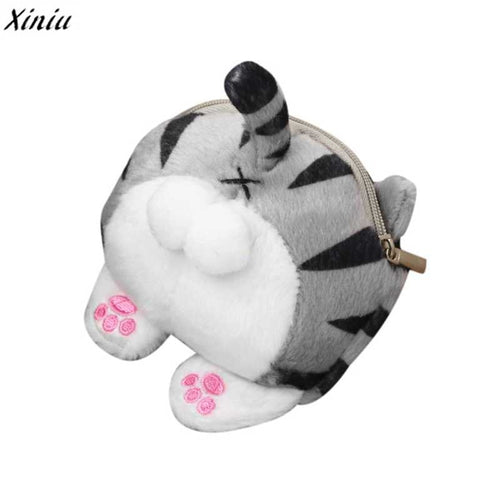 Mini Cute Cat Butt Tail Plush Coin Purse