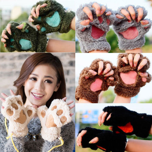 Cat Paw Mitten Plush Glove