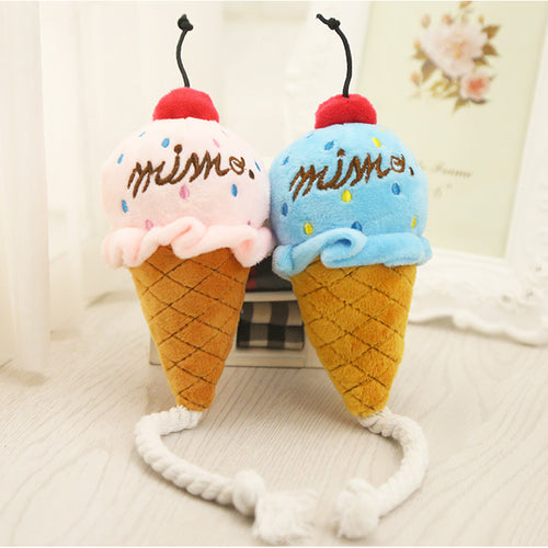 Lovely Dog Toy Puppy Plush Squeak Toy For Small Dogs Pet Cat Toys Chew Ice Cream Play Toys
