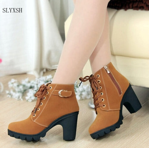 Solid Lace-up European  high heels Boots