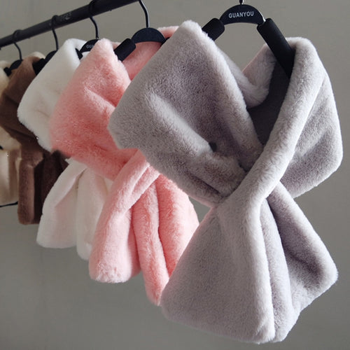 Faux Fur Winter Scarf  Short Wraps