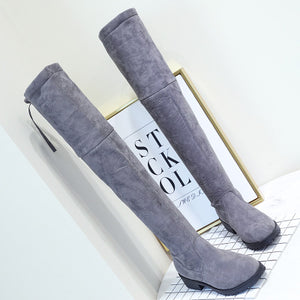 Thigh High Over the Knee Boots Flat Stretch