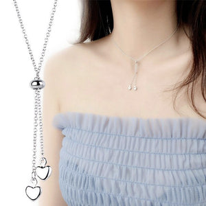 Silver Love Tassel Adjustable Heart-shaped Bead Choker