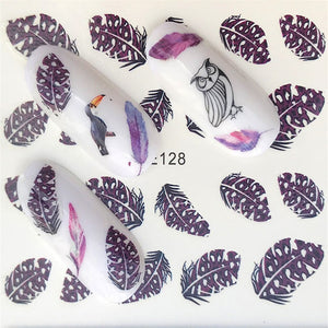 Water Transfer Sticker Black flower/feather/fruit/cake Nail Art