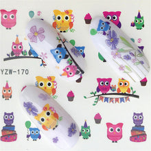 Load image into Gallery viewer, Water Transfer Sticker Black flower/feather/fruit/cake Nail Art