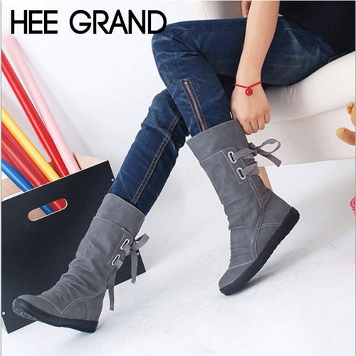 Lace-up Mid-Calf Solid Flat Heels Boots