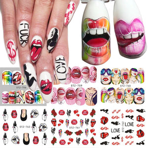 Sexy Lips Cool Girl Water Decals Wraps Cartoon Sliders Nail Art