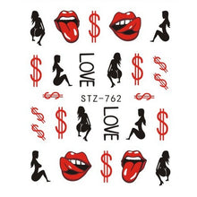 Load image into Gallery viewer, Sexy Lips Cool Girl Water Decals Wraps Cartoon Sliders Nail Art