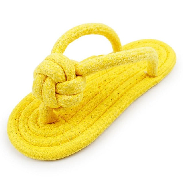 Cute Flip Pet Dog Toy Cotton Braided Slippers Puppies Chew Play Resistant to Biting