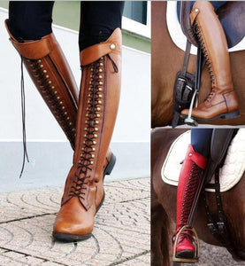Knee high motorcycle boots