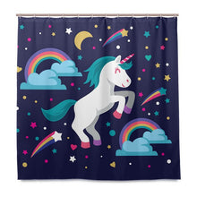 Load image into Gallery viewer, Unicorn Shower Curtain Poop a Rainbow Waterproof Fabric Mildew Resistant Curtain