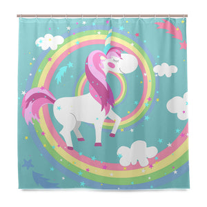 Unicorn Shower Curtain Poop a Rainbow Waterproof Fabric Mildew Resistant Curtain