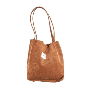 Corduroy College Style Tote Bags