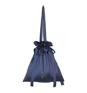 Drawstring single-shoulder satchel bag