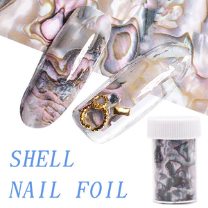 1 Roll 4*120CM Ocean Style Shell Abalone Pattern Nail Foils Gradient Marble