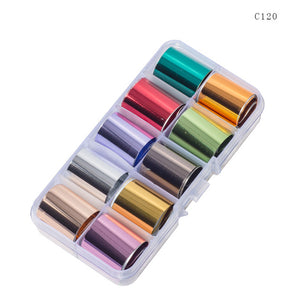 10 Design/set  2.5*100cm Holographic Nail Art Transfer Foil Stickers