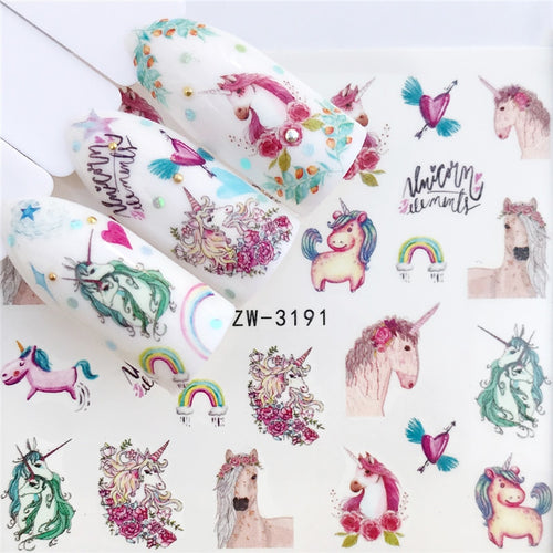 Nail Water Transfer Decals, Unicorn, Horse, Rainbows