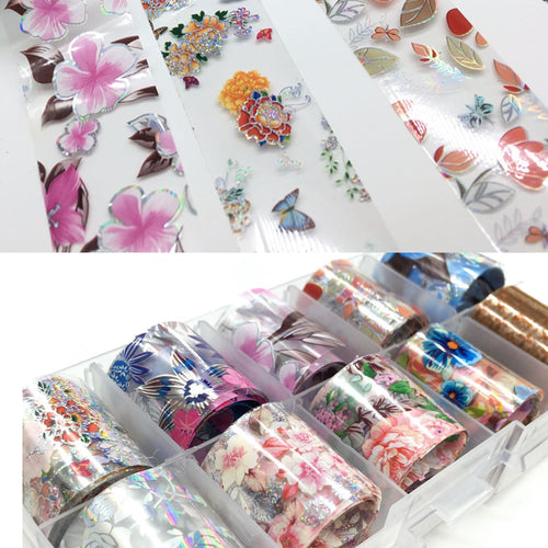 10pcs Holographic Flower Nail Foil Floral Prints