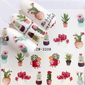 Cactus / Flamingo / Horse / Flower Water Transfer Nail Art Sticker Beauty Decal Nails Art Decorations