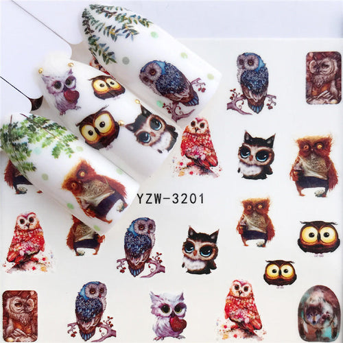Nail Sticker Water Decals Owl Flower Cat Butterfly Cactus