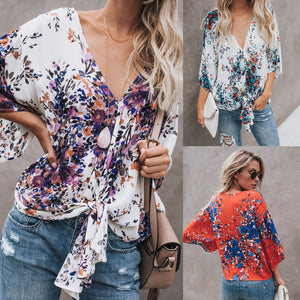 S-3XL Fashion Summer Loose Blouse Women's Long Sleeve Floral V-neck Womens Tops And Blouses Casual Shirt Tops Plus Size XXL XXXL