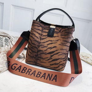 Faux tiger printed bags