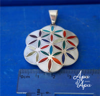 flower of life large handmade 950 silver Peru