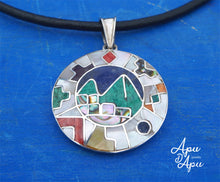 Load image into Gallery viewer, macchu picchu pendant with Inca calendar aroud, peruvian silver