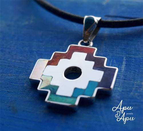 chakana, peruvian inca cross pendant, silver necklace from peru