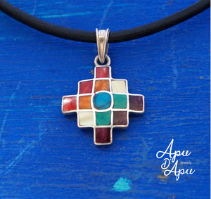 inca cross with multicolor stones