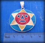 big smiling sun face pendant necklace