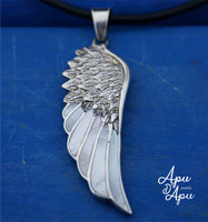 feather pendant silver - angel wings necklace - best spiritual jewelry