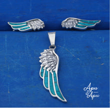 Load image into Gallery viewer, angel wings jewelry set, silver feather set for her