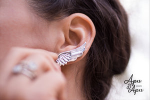 angels wing cuff earrings silver, spiritual jewelry from Peru