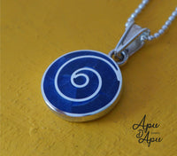 blue pachamama pendant necklace from peru