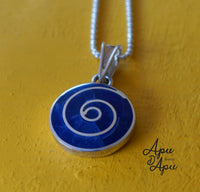 blue pachamama symbol necklace, peruvian silver jewelry