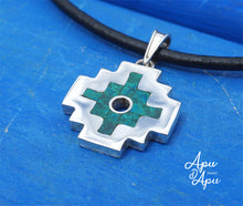 Load image into Gallery viewer, chakana pendant necklace silver chrisocolla inlay