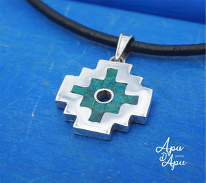 andean cross silver chrisocolla inlay, peruvian silver jewelry
