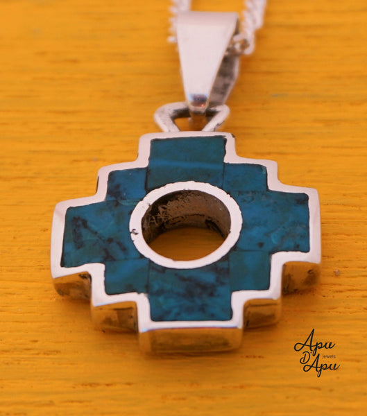 chakana inca cross pendant necklace, 2 cm large, double face turquoise 950 silver