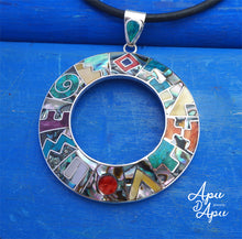 Load image into Gallery viewer, large inca calendar pendant necklace donuts shape